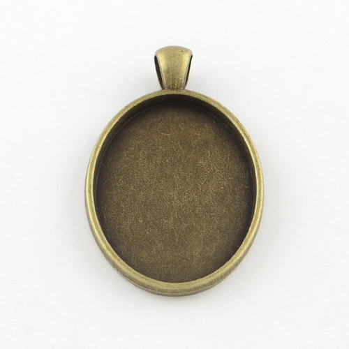 Oval Flat Alloy Pendant 30x20x3mm - Antique Bronze 10/pkg