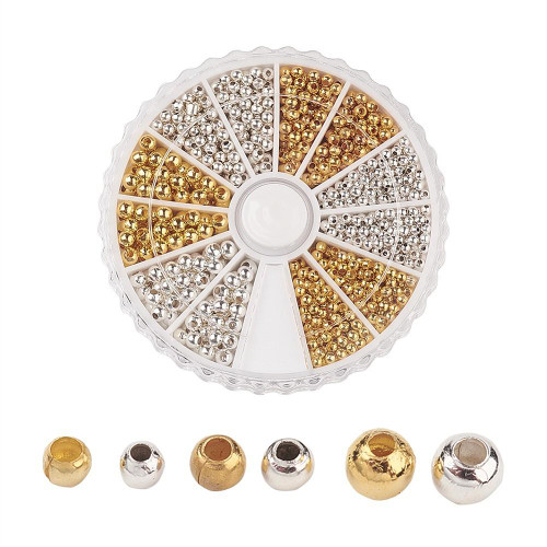 Iron Spacer Beads Round Mixed Colours 2~3mm 1160/pkg