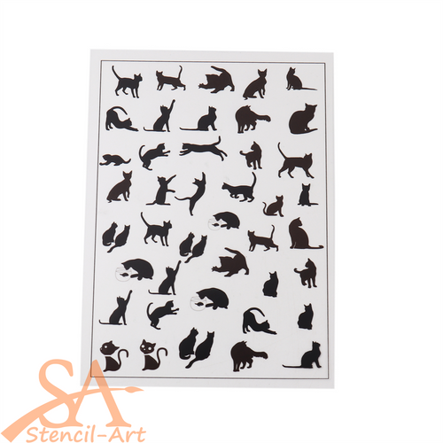 Transparent Film Sheet - Black Cats