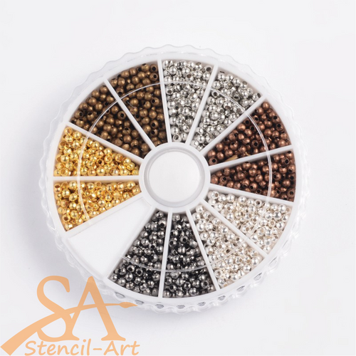 Iron Spacer Beads Round Mixed Colours 2x2mm 1680pcs