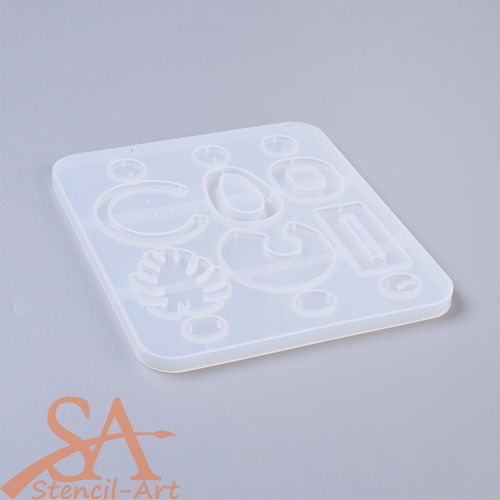 Silicone Mould - Assorted Open-Back Mixed Shapes #4 160x140x7mm