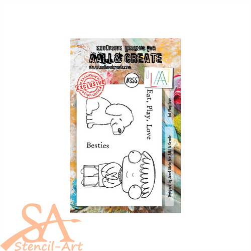 AALL & Create A7 Clear Stamp Set EAT PLAY LOVE #355
