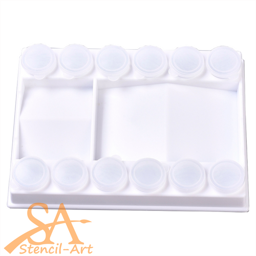 Plastic Contour Painting Palette with 12-Well Sealed Removable Cups 207x157mm