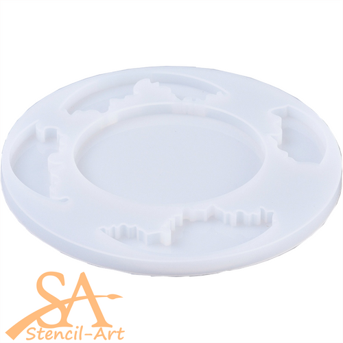 Silicone Resin Mould –  Round Coaster 110mm with layers