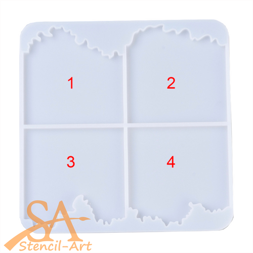 Silicone Resin Mould –  Square Coaster Sea Wave Shapes 233x234x10mm