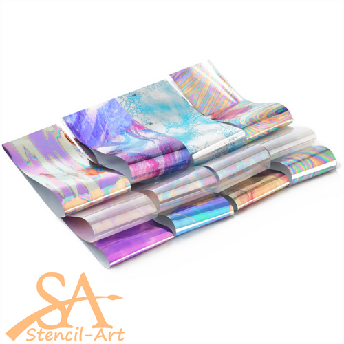 Transfer Foil Mixed Colours 12 Sheets of 200x40mm
