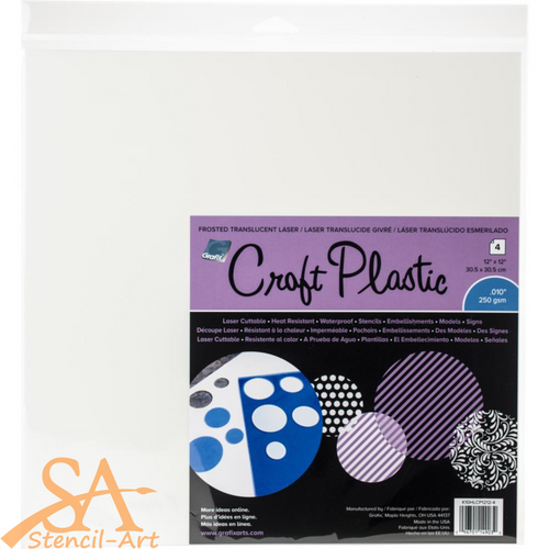 "Grafix Craft Plastic Sheets FROSTED .010 12""x 12"" 4/Pkg #KHLCP124"