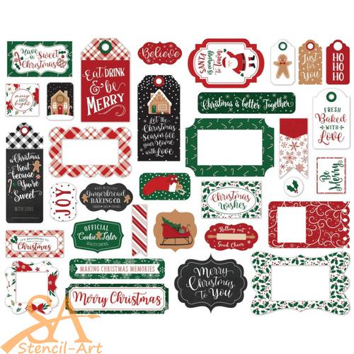 Echo Park A Gingerbread Christmas Ephemera Frames & Tags 33/Pkg #GC221025