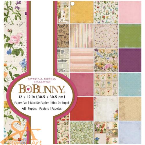 "BoBunny BOTANICAL JOURNAL Single-Sided Paper Pad 12x12"" 48/Pkg #7311103"