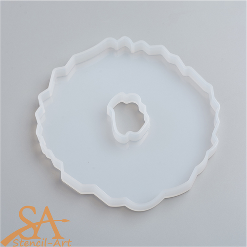 Silicone Resin Mould - Round Geode Agate 131x122x12mm