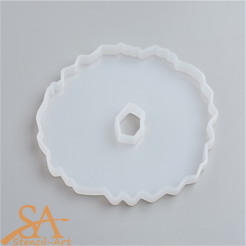 Silicone Resin Mould - Round Geode Agate 134x125x11mm
