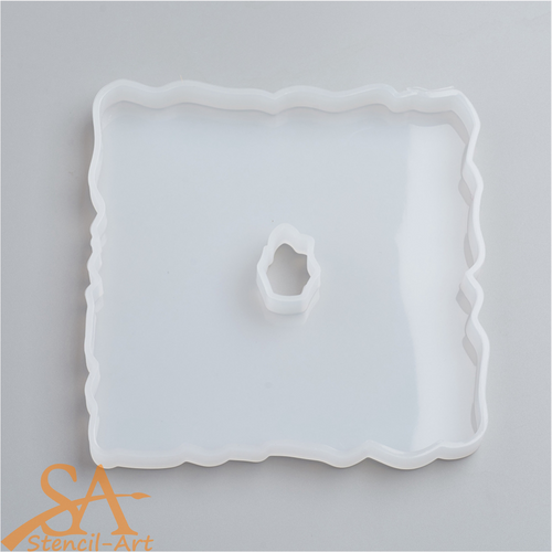 Silicone Resin Mould - Square Geode Agate 163x161x12mm