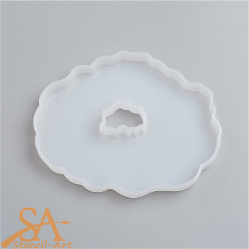 Silicone Resin Mould - Oval Geode Agate 129x105x12mm