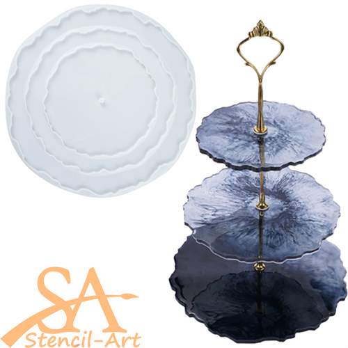 Silicone Mould - Geode Cake Stand Tray 195mm