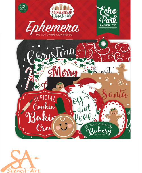 Echo Park Ephemera Diecuts 33/Pkg A GINGERBREAD CHRISTMAS #GC221024