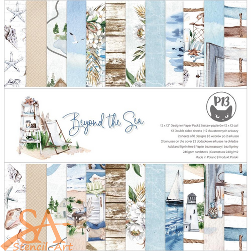 P13 Double-Sided Paper Pad 12x12 Beyond The Sea #P13SEA08
