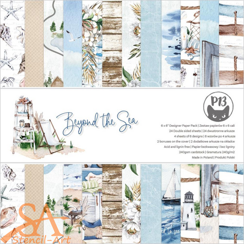 P13 Double-Sided Paper Pad 6x6 Beyond The Sea #P13SEA09