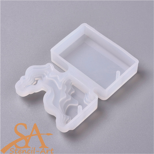 Silicone Resin Mould - Ocean Bed Pendant Rectangle 65x45x10mm
