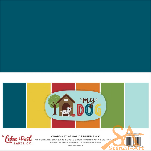 """Echo Park Double-Sided Solid Coloured Cardstock 12x12"""" 6/Pkg MY DOG #MD226015"""