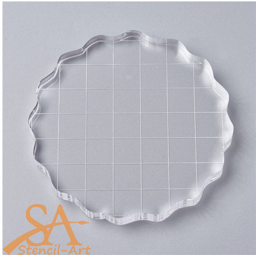 Acrylic Stamp Block with Grips & Grid – Round 75x7mm