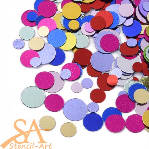 Plastic Sequins Round Mixed Metallic Colours & Sizes 24g