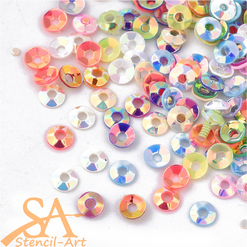 Plastic Sequins Round Mixed Colours 14g