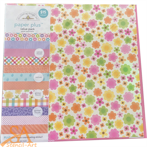 "Doodlebug Paper Plus Value Pack 12x12"" PASTEL #5191"