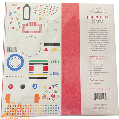 "Doodlebug Paper Plus Value Pack 12x12"" PRIMARY #5193"