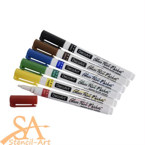 DecoArt Glass Paint Marker Multi-Pack 6 Pcs Primary Colours #DGPMK70