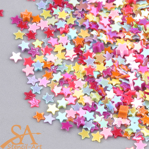 Plastic Sequins Stars Mixed Bright Colours 50g