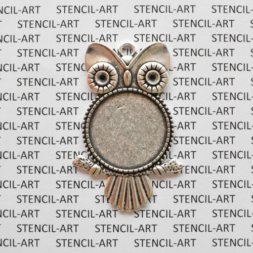 Round Flat Alloy Owl Pendant - Antique Silver 10/pkg Tray:25mm