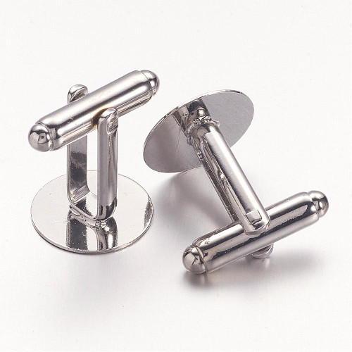 Brass Cufflink Buttons Platinum Flat Pad 14mm 10Pcs