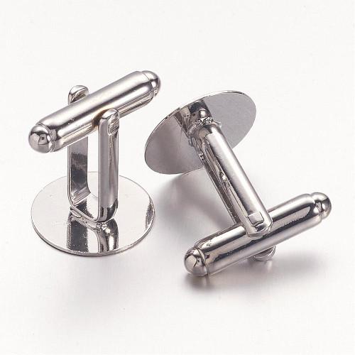 Brass Cufflink Buttons Platinum Flat Pad 14mm 10 pieces