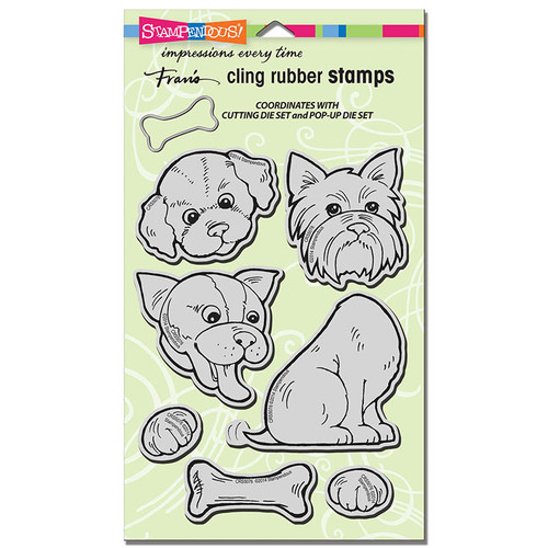 Stampendous Cling Rubber Stamp Set - Pop Up Puppies CRS5076