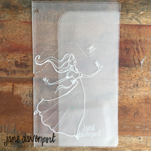 "Jane Davenport MM Butterfly Effect Plastic Journal Jacket 5X9""Clear with Butterfly Girl #376864"