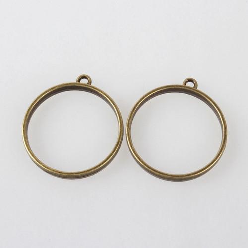 Open Frame Pendant Round Flat 30mm Antique Bronze 10/pkg
