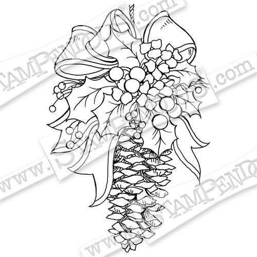 Stampendous Cling Rubber Stamp Pinecone Decoration CRP310