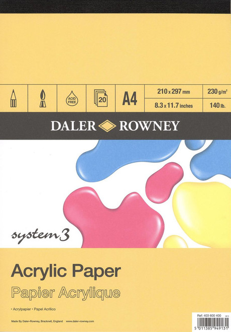 Daler-Rowney System 3 Acrylic Pad A4 - 20 sheets 230gsm