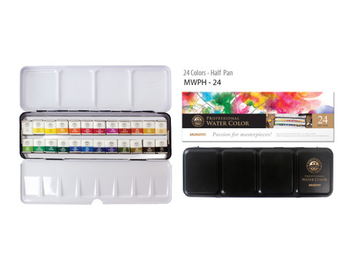 MUNGYO Professional Watercolour Half Pan Set of 24