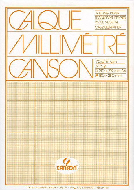 Canson Millimetre Squared Tracing Paper Pad 70gsm A4