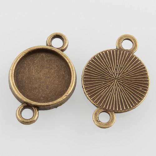 Alloy Round Bezel 2 Loop Connector Links 10mm Antique Bronze 10/pkg