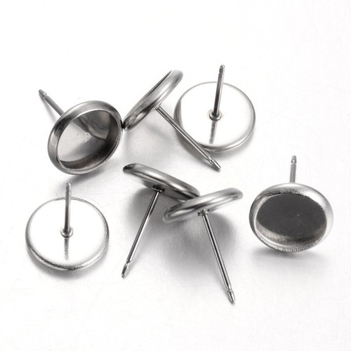 304 Stainless Steel Earring Posts with Round Cabochon Setting 8mm 10/pkg Pin: 0.8mm