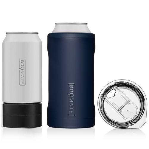 The hopsulator trioIt fits all your favorite 16oz craft cans, comes with an adapter for 12oz cans, and with one quick switch turns into a 16oz pint glass.