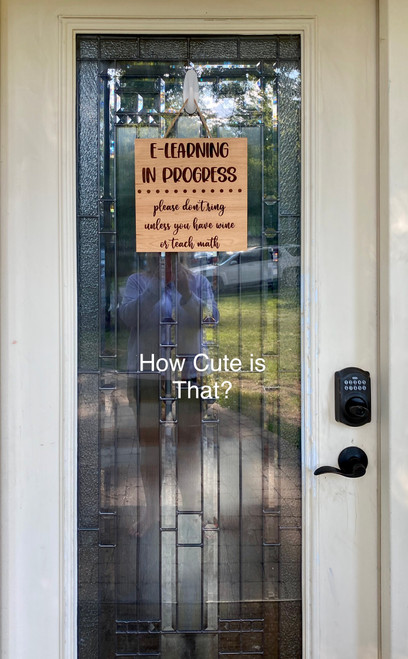 Virtual learning wood sign