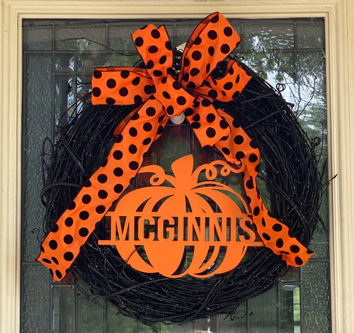 Laser cut pumpkin with your last name for your Halloween wreath