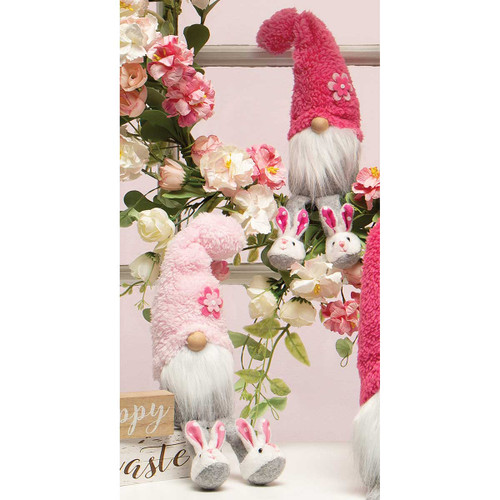 cute spring gnome with easter bunny slippers
