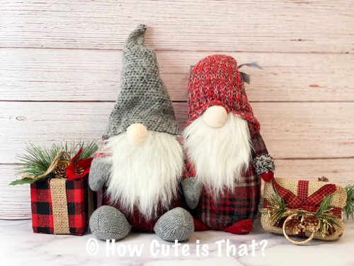 These cute red and gray gnomes will be a perfect addition to your holiday decor.