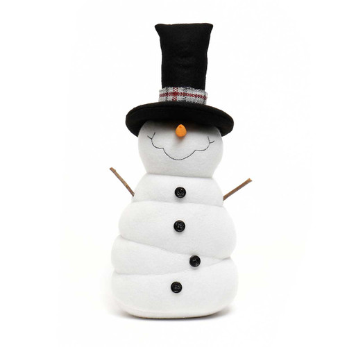 Frosty Snome with black top hat, plaid band and twig arms