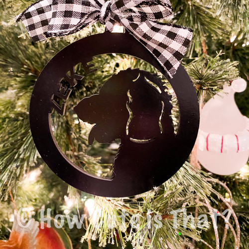 Personalized Dog Silhouette Christmas ornament
