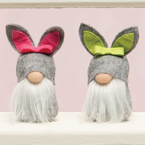 MINI BUNNY GNOME WITH , WHITE BEARD, BUNNY TAIL AND GREY BUNNY HAT